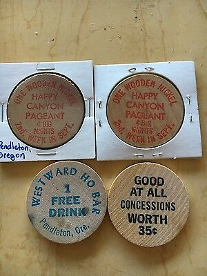 4 old RARE different OREGON wooden nickel tokens PENDLETON SUMPTER OR
