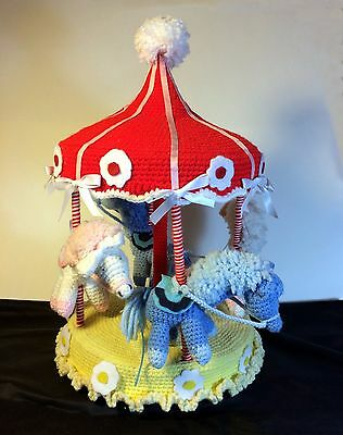 Decorative Crocheted Rotating Musical Carousel -Great GIft for a New Baby's Room