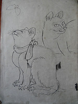 Oriental Woodblock Print Two Cats and a Butterfly