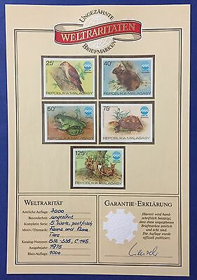 Madagascar Malagasy 1975 Fauna Series Of 5 Imperforated Mnh** With Garantie Rrr