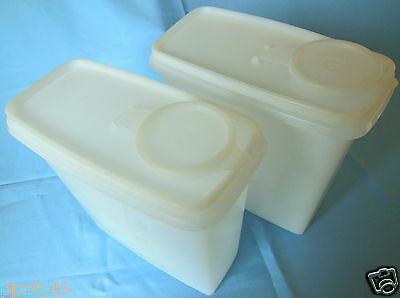Vintage Tupperware Large Cereal Keeper Storage Container w/Lid Set of 2