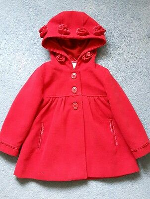 Monsoon little girls red Christmas winter coat 2-3 years