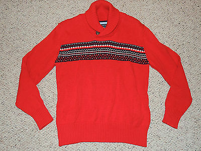 Boys Tommy Hilfiger Bulls Eye Size Small 8/10 Red Long Sleeved Pullover Sweater