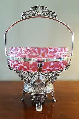 Antique Pairpoint Silverplate Cranberry Opalescent Seaweed Glass Brides Basket