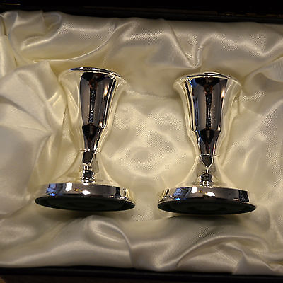 Small boxed Arthur Price Silver Plated Candlesticks with beaded edge design