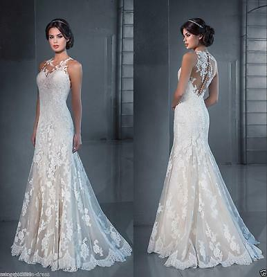 2016 white ivory wedding dress bridal gown stock Custom Size 4 6 8 10 12 14 16++