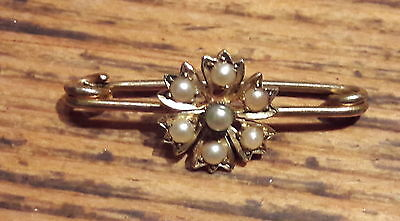 "*ANTIQUE 15ct GOLD SEED PEARLS SET ""FLOWER"" BROOCH"