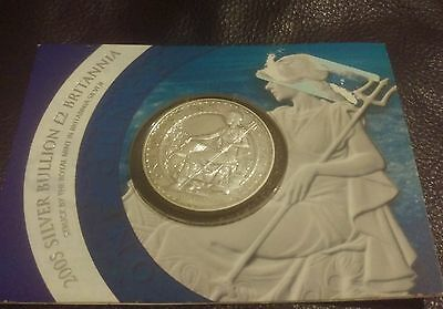 2005 Silver Britannia £2 coin on Presentation Card