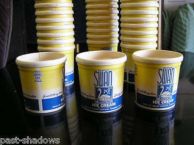 one bid buys 49 vintage SWAN ICE CREAM 1 pint container nice graphics condition