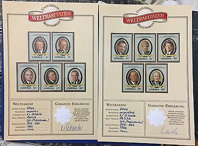 Liberia 1982 Presidents Usa Series Of 10 Imperforated Mnh**with Garantie Rrr