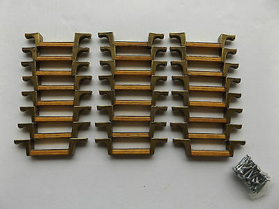 Lot of 24 Vintage Wood and Brass Handles Drawer Pulls