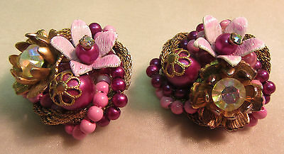Beaujewels Purples Gold Tone Cluster Earrings J4388