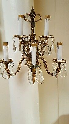 Estate Vintage  Sconce  Crystal & Solid Brass Made In Spain/Label Free Shipping