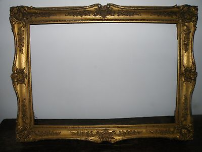 Striking Large Antique 19Th C. Patinated Giltwood Swept Rococo Picture Frame