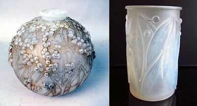 Exzellente French Art Deco R.LALIQUE VASE (2x) LAURIER & DRUIDE Top Zustand