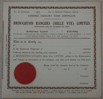 Broughton Rangers / Belle Vue Rugby Club Share Cert(CB2