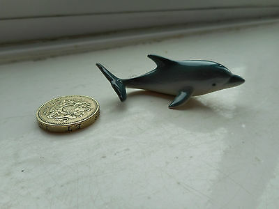 Dolphin - Detailed, Beautiful Miniature Pottery  Grey/blue Dolphin Figurine