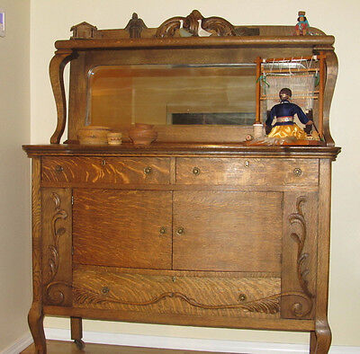 Antique Victorian Oak Sideboard Buffet Beveled Mirror Claw Feet