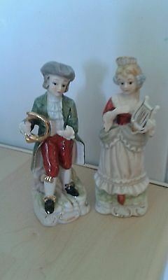Antique capodimonte figurines man and woman with musical instruments. Stamped