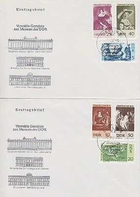 DDR FDC 1286 - 1291 auf 2 FDCs mit SST Berlin Gemälde 1967, first day cover