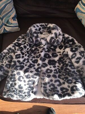 Girls M&S Faux Fur Jacket Age 7-8 Year