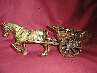 Large Heavy Brass Horse and CART L - 44 cm.