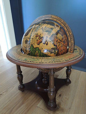 Gorgeous Vintage Wooden Tabletop Spinning World Globe
