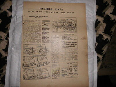 Motor Trader Humber Sixes Snipe, Pullman Supersnipe  Service Sheets