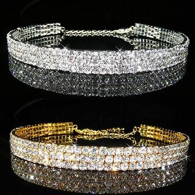 3 Rows Simulated Diamond Silver / Gold Choker Necklace Party Xmas BN062