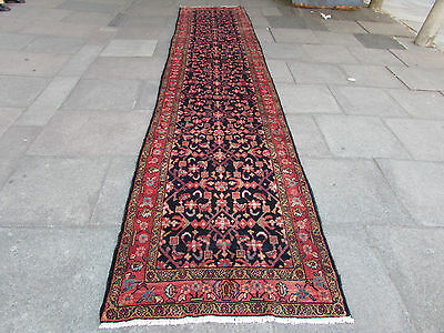 Old Traditional Hand Made Persian Oriental Blue Wool Long Runner Rug 530x110cm