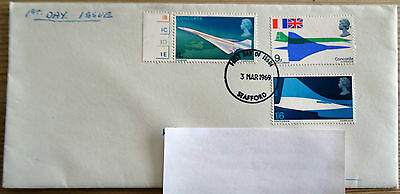 QEII GB FDC Stamps commemorating Concorde's First Flight issued 1969