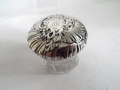 Vintage Trinket Patch Box Repousse Floral Swirl Decoration To  Silver Plate Top
