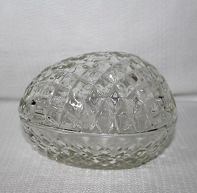 Lovely Clear Diamond Cut Egg Candy Dish
