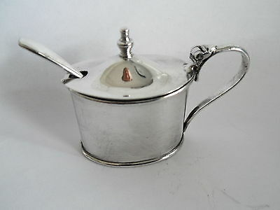 Vintage Silver Plate Mustard Pot With Blue Glass Liner Traditional Design