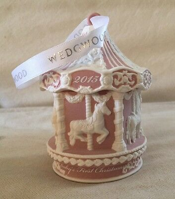 New $58 Wedgwood England 2015 Carousel Jasperware Baby's 1st Christmas Ornament