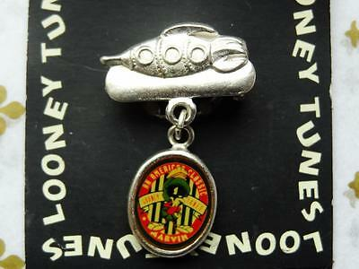 1996 LOONEY TUNES MARVIN MARTIAN Spaceship Charm Brooch Pin, Warner Brothers NEW