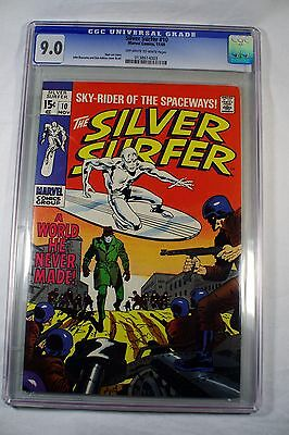 Silver Surfer 10 first series CGC 9.0 OW-WP, A World He Never Made, 11/69