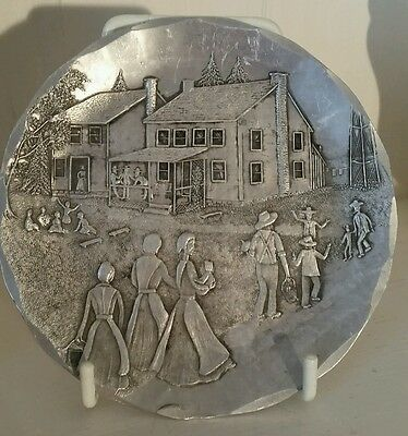 Wendell August forge aluminium coaster/plaque. Amish series: Gathering for Lunch