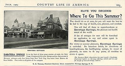 1904 Saratoga Springs Cottages Vacation Ad New York Central & Hudson River