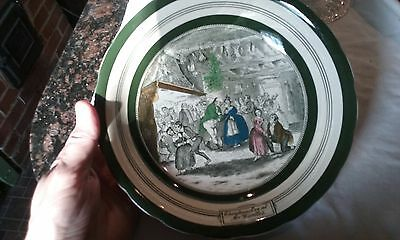 Vtg Pickwick Papers Dickens Adams Plate Christmas Eve at Mr Wardle's