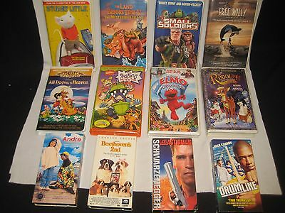 12 LOT KIDS VHS Movies RUDOLPH- Stuart Little-Free Willy-RugRats-ELMO-Beethoven