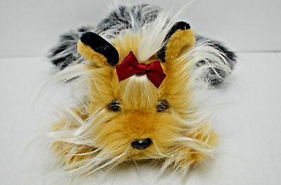 """Animal Alley Yorkshire Terrier Dog Plush Long Hair Red Bow 11"""""""