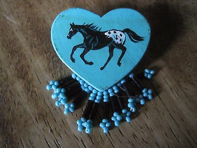 Appaloosa Horse Painted on Turquoise Wood Heart Pin with Beads