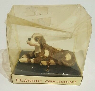 Vintage Classic Ornament dog laying down unopened box