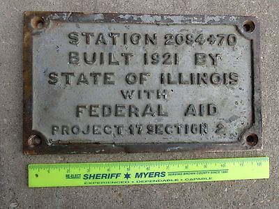ANTIQUE PRE-DEPRESSION VINTAGE 1920's CAST IRON ILLINOIS BRIDGE SIGN