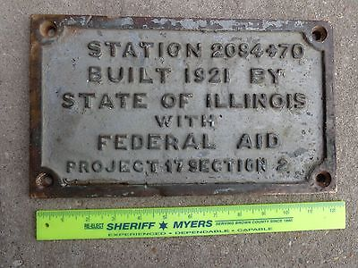 ANTIQUE VINTAGE 1920's CAST IRON ILLINOIS BRIDGE SIGN