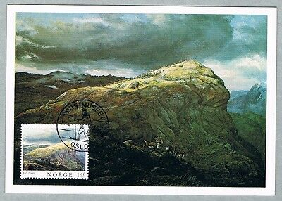 Maxi card MC: Mountain landscape, Painting from Norway