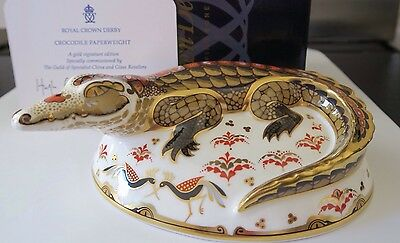 Royal Crown Derby Crocodile Paperweight First Quality Gold Stopper