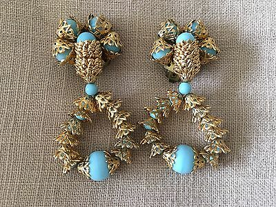 Turquoise & Gold Vintage Earrings