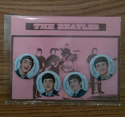 The Beatles Pin Back Buttons complete set on pink backing card 1960's Japan